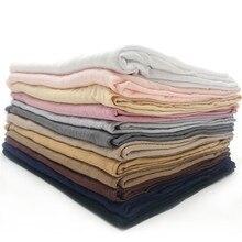 Jersey Sjaal Vrouwen Effen Kleur Elasticiteit Katoen Sjaals Elegant Modest Moslim Hijab Sjaal Grote Maat Goede Kwaliteit Sjaals Sjaal