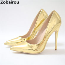 zapatos mujer pumps women shoes 12cm scarpin gold super high heels bridal  shoes slip on pointed toe office dress party sapatos 88a1793ee1d4