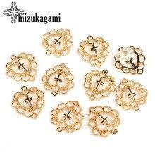 Pendentif en alliage de Zinc en or, pendentif en forme de cœur, croix religieuse, pour faire soi-même des bijoux, accessoires de fabrication, 20mm, 10 pièces/lot