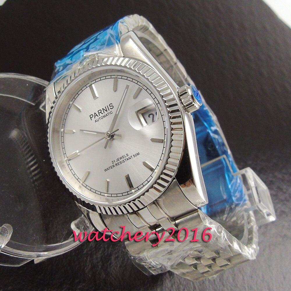 modisch 36mm Parnis sapphire glass white dial date adjust miyota automatic movement Men's Watch 38mm parnis white dial date sapphire glass miyota automatic mens watch p723