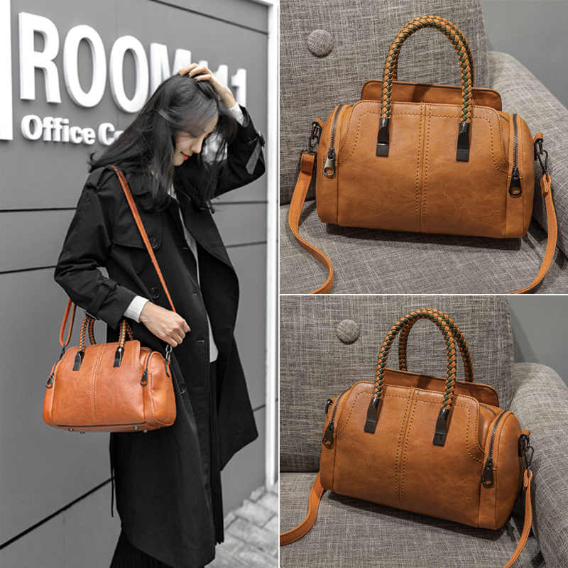 Vintage skórzane damskie torebki damskie Messenger torby Totes Tassel projektant torba na ramię crossbody Boston torebki gorąca sprzedaż C809