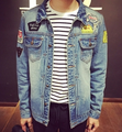 2016 printed men's casual denim jacket embroidered jacket hole