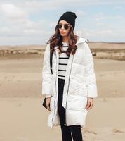 2018 Winter Jacket Women Hooded White Duck Coat 2018 Warm Parka Female Casual Long Down Jacket DY04