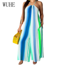 WUHE Women Jumpsuits Sexy Off Shoulder Sleeveless Halter Wide Leg Playsuits Summer Bohomian Beach Party Club Casual Loose Romper