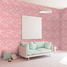3d Pink Brick Wallpaper Stickers Sweet Girls Room Bedroom Wallpapers Roll Self Adhesive PVC Wall Paper Background tv ST1027