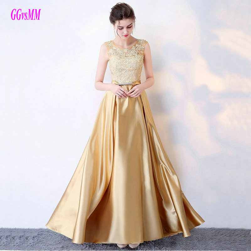 Fashion Gold Plus Size Evening Dresses 2018 Sexy Prom Formal Dress