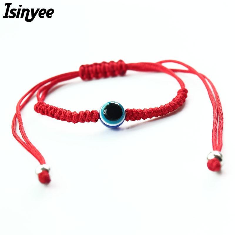 ISINYEE Bracelet Blue Jewelry Charm Thread-Rope Braided Red-String Turkish Evil-Eye Minimalist