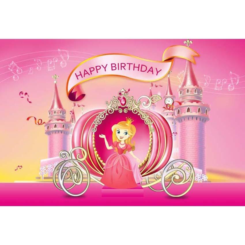 7x5F Happy Birthday Pink Castle Princess Pumpkin Carriage