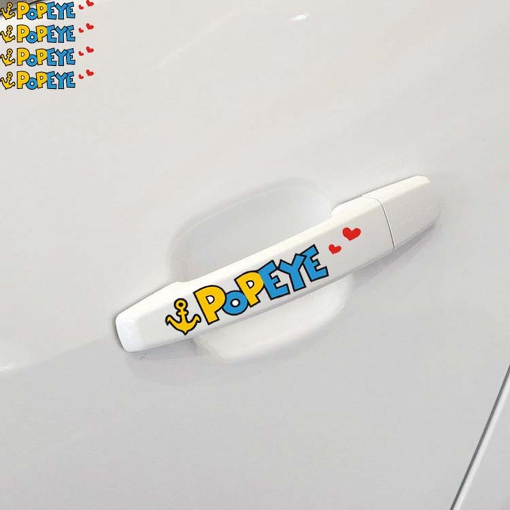 Aliauto 4 x Funny POPEYE car door handle Stickers Decal for Toyota Ford Chevrolet VW Golf Polo Skoda Honda Hyundai Kia Lada