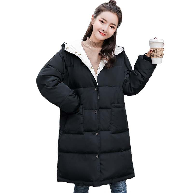 Double Two Sides Women Winter Jacket Hooded Breasted Buttons Oversize Female   Down     Coat   Padded Long Parka Mujer Invierno