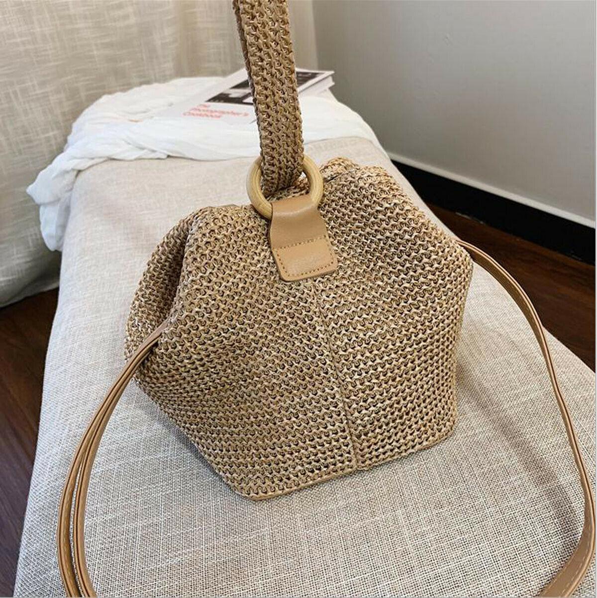Women Boho Woven Handbag Tote Shoulder Bags New Fashion Summer Beach Casual Straw Wicker Messenger Handbag