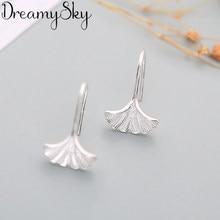 DreamySky prawdziwy kolor srebrny kreatywne kolczyki dla kobiet nowy marka Ginkgo Biloba liść kolczyki biżuteria ucha Bijoux Brincos