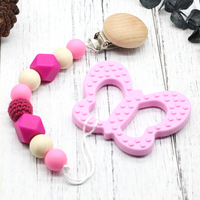 Silicone Teething Butterfly Teether Clip Wooden Clip Silicone Teething Pacifier Necklace Hanging Toy Wit Butterfly Pacifier