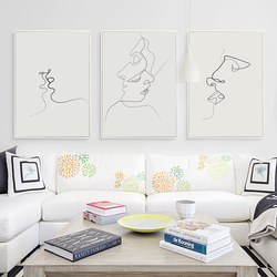 Kiss picasso simple line curve black white abstract canvas painting art print poster picture wall decoration.jpg 250x250