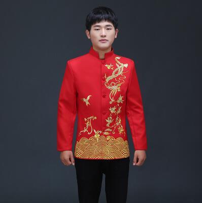 Vêtements pour hommes pratensis style chinois haut de mariage le marié dragon robe de soirée rouge haut slim rouge tang costume chinois tunique - 2