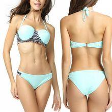 2019 New Sexy Bikini Set Swimsuit Women Swimwear L Size Bathing Suits Two Piece Bandage Off Shoulder Blue