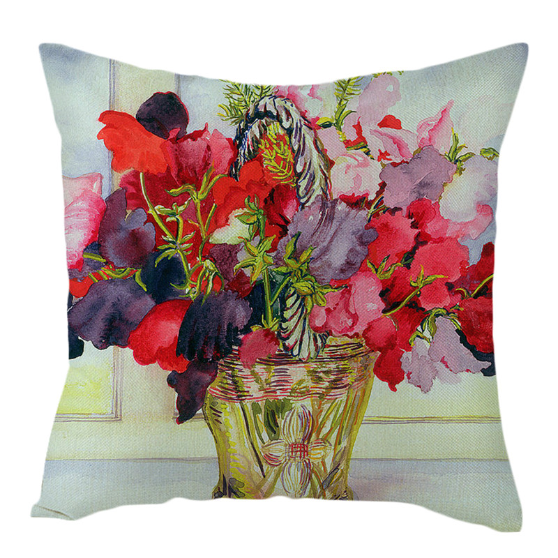 Fuwatacchi Pure Linen Cushion Cover Rose Flower Pillow Cover for Home Chair Sofa Decorative Pillows Oil Painting Flowers Pillows in Cushion Cover from Home Garden