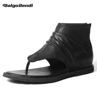 Trendy Men's Genuine Leather Rome Style T strap Gladiator Sandals Man Zip Summer Sandals Boys Casual Flip Flop