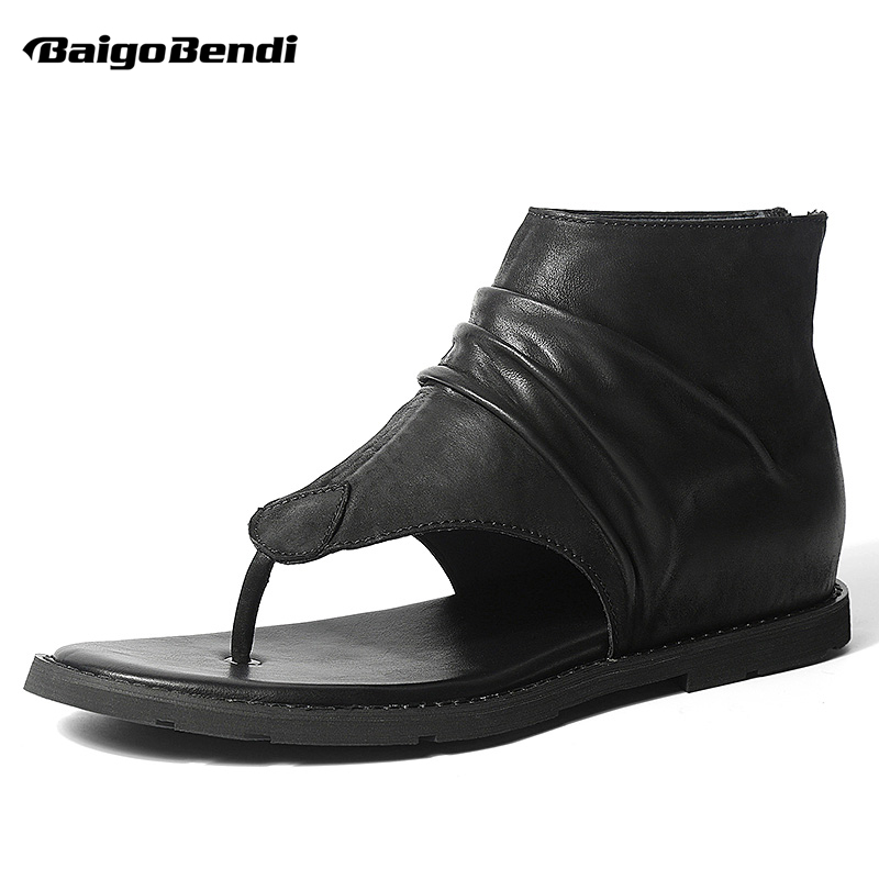 Trendy Mens Genuine Leather Rome Style T-strap Gladiator Sandals Man Zip Summer Sandals Boys Casual Flip Flop