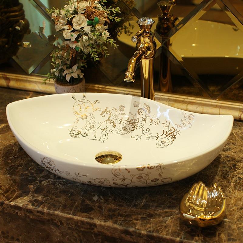 Oval China Handmade Lavabo Washbasin
