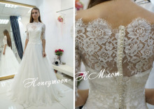 Free Shipping Grecian Style A-Line Bateau Neck Top Lace Overlay Sweep Train White Half Sleeve Wedding Dress MF405