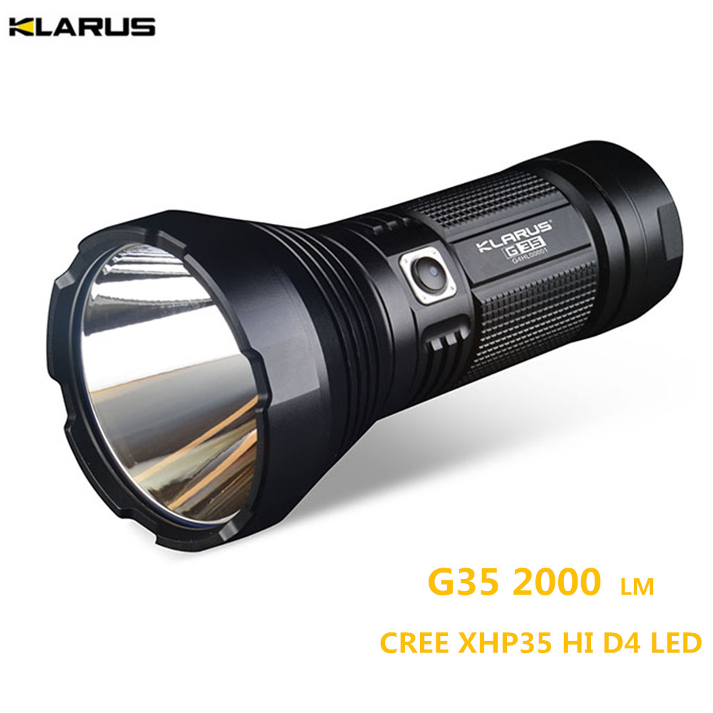 Super Torch KLARUS G35 XHP35 HI D4 LED 2000LM beam distance up to 1000 meter search light hunting, camping ,rescue flashlight new klarus xt11gt cree xhp35 hi d4 led 2000 lm 4 mode tactical led flashlight free usb port and 18650 battey for self defence