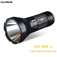 Super Torch KLARUS G35 XHP35 HI D4 LED 2000LM beam distance up to 1000 meter search light hunting, camping ,rescue flashlight