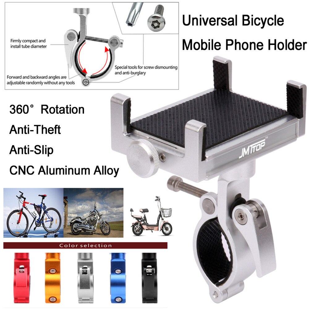 Upgraded Rotatable MTB Bicycle Phone Holder Mount Anti-Theft CNC Aluminum 3.5-6.2inch Smartphone Bike Handlebar Stem Stand Mount