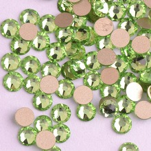 Zziell New 2088 Cut Peridot Green Glass Non hotfix 16 facets 8+8 Nail Art Rhinestones Golden Base for DIY Nails & Phone Case