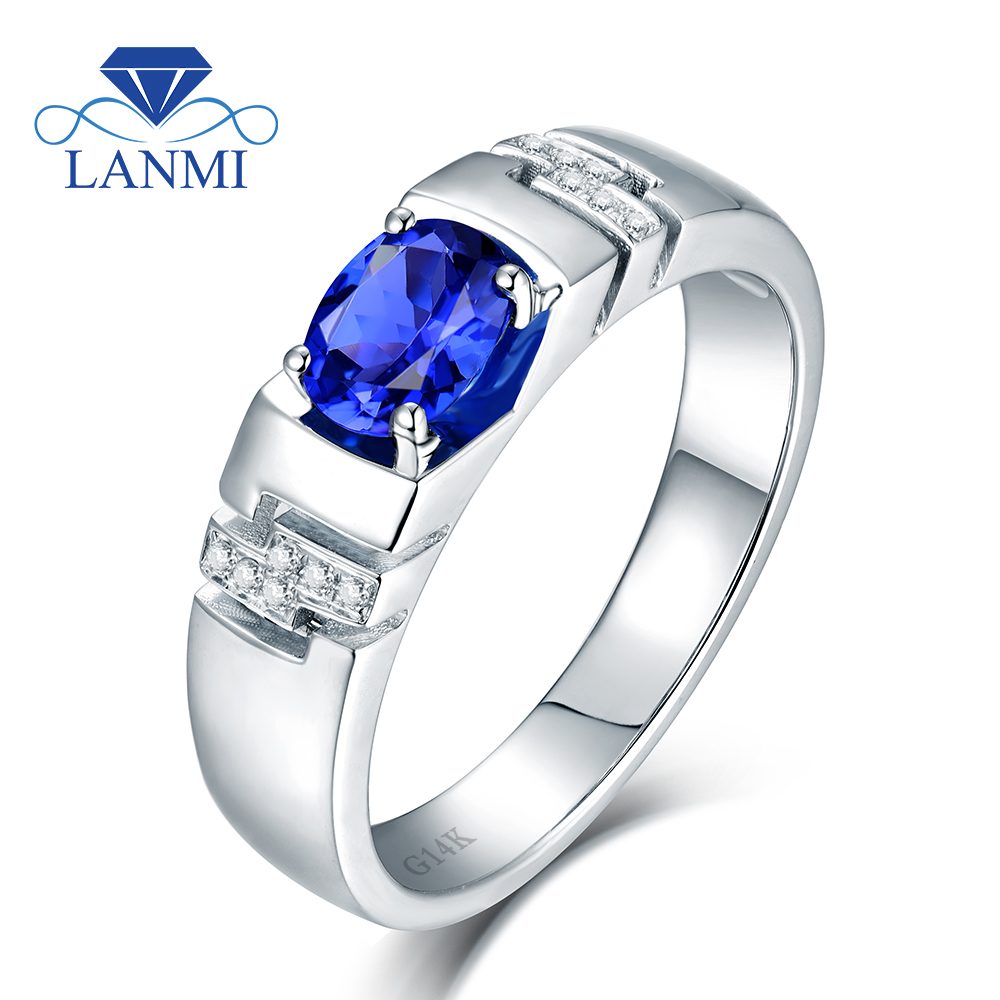 Noble Oval 5x7mm Natural Blue Sapphire Men's Rings In Solid 14kt White Gold  Wedding 585 Diamond