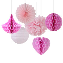 Pink Shade 6pcs Mix and Match Paper Decoration Set ( Honeycomb Ball/Heart/Drop/Pinwheel/Pom Pom) for Birthday Showers Wedding