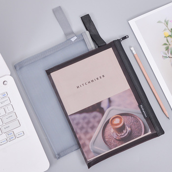 Solid Color Document Bag A4 A5 Transparent Gridding Zip Storage Bags Pen Filing Products Pocket Folder Office & School Supplies 2