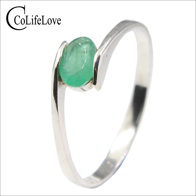 Hotsale Silver Emerald Ring For Engagement 4 Mm * 6 Mm Natural I Grade Emerald Silver Ring Real 925 Silver Emerald Jewelry