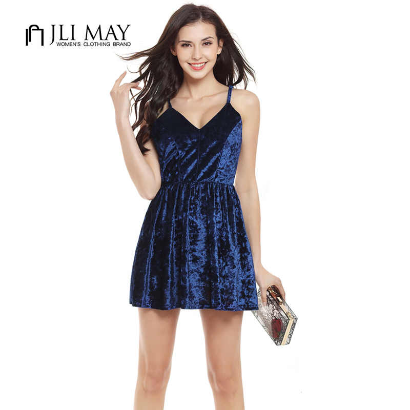 eb43f3c9fe7af Detail Feedback Questions about JLI MAY sexy mini Velvet dress Off ...
