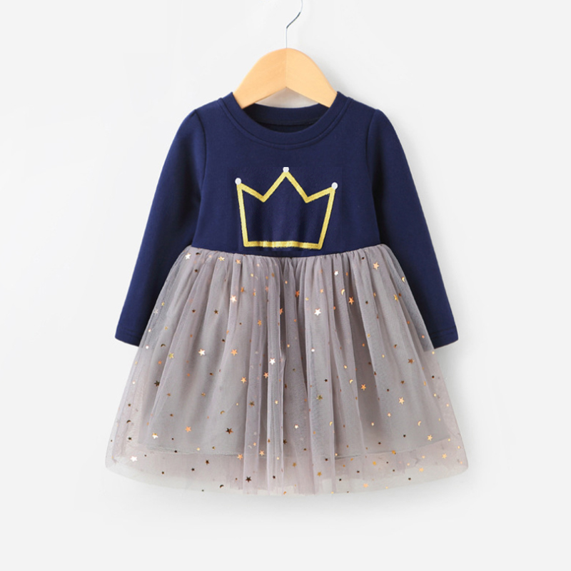 2018 Spring Girl Dress Full Print Tjejkläder Långärmad Princess Dress For Girls Kids Kostym Dress Outwear 2-8år