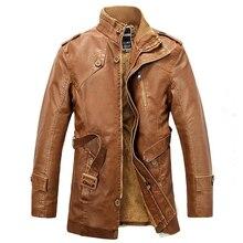 Новинка зимы Для мужчин меху кожаная куртка мода стоять воротник Длинные PU мотоциклетная куртка Для мужчин плюс Размеры кожаные пальто Эркек Мон BF569