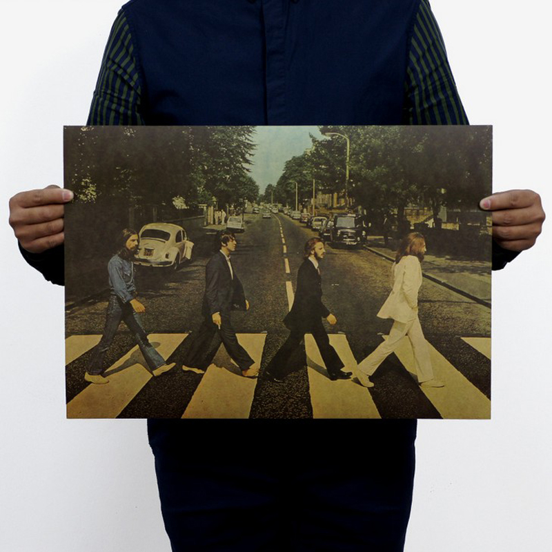 Cross the street Road /abbey road/ music Rock band/Classic rock/kraft paper/ Retro Poster/decorative painting 51x35.5cm image