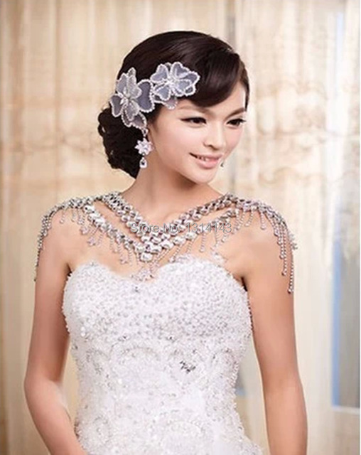 New Hot Sale Necklace Women Free Shipping Wedding Jewelry Bride Straps Crystal Flower Shoulder Chain Bridal Necklace Decorated
