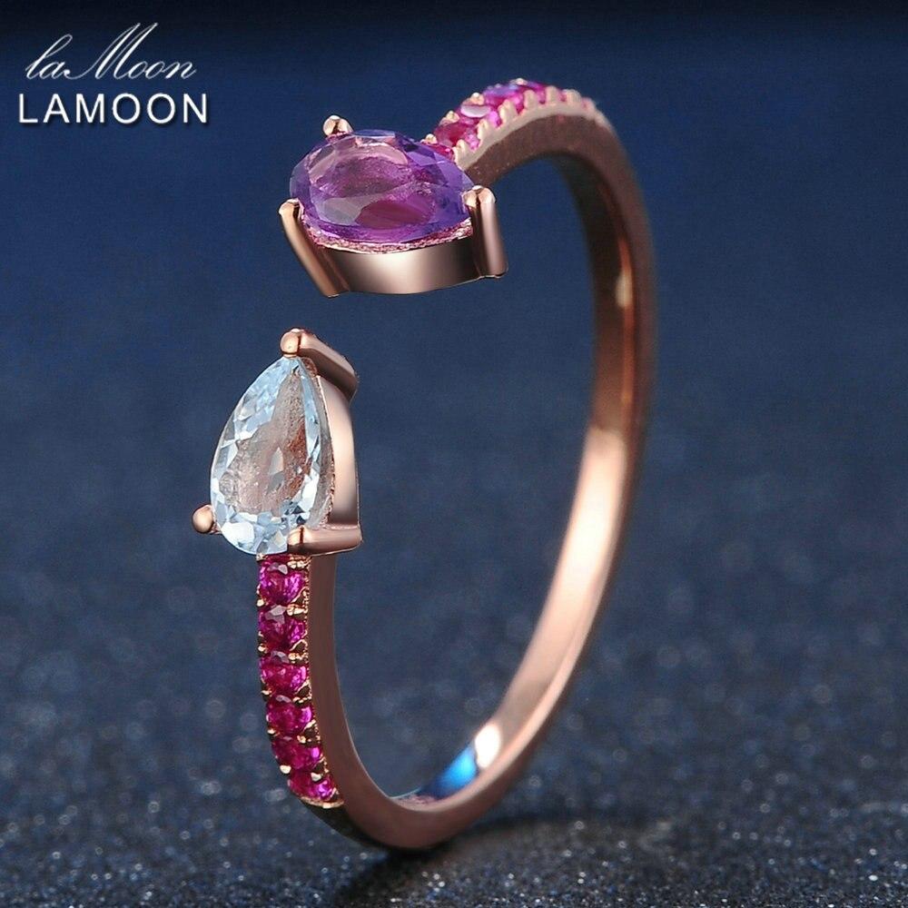 LAMOON 925 пробы Серебряное кольцо топаз аметист драгоценный камень кольцо 18K розовое золото покрытые ювелирные изделия в форме капли женские ю...