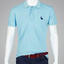 SHABIQI TODO o tamanho Britânico homens camisa polo Ocasional Dos Homens  marcas camisa pólo Sólida camisas pólo cabeça de coelho. fc4ed0a6aae