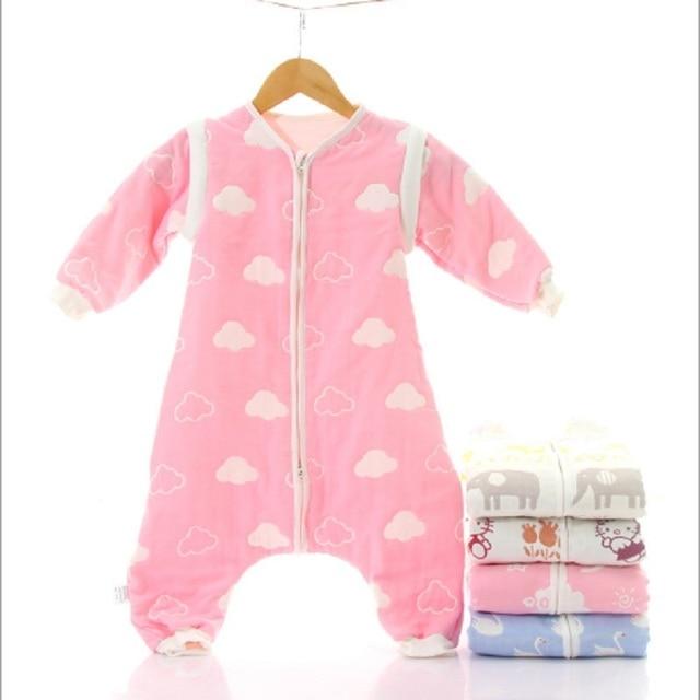 Muslin bebek uyku tulumu kış 6 kat pamuklu çocuklar uzun kollu pijama 0 5 yıl çocuk pamuk Sleepsack bebek pijama