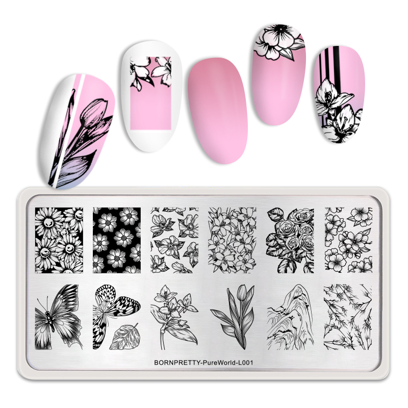 <font><b>BORN</b></font> <font><b>PRETTY</b></font> Rectangle Nail Stamping Plates Flower Butterfly Image Painting Stamp Stencil DIY Nail Art Design Tools <font><b>L001</b></font> image