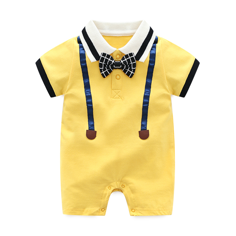 Fashion Cute Short Sleeve Baby Rompers Lapel Cotton Small Gentleman Style Jumpsuit Summer Boy Crawl Clothes 0-1-2 Years Old
