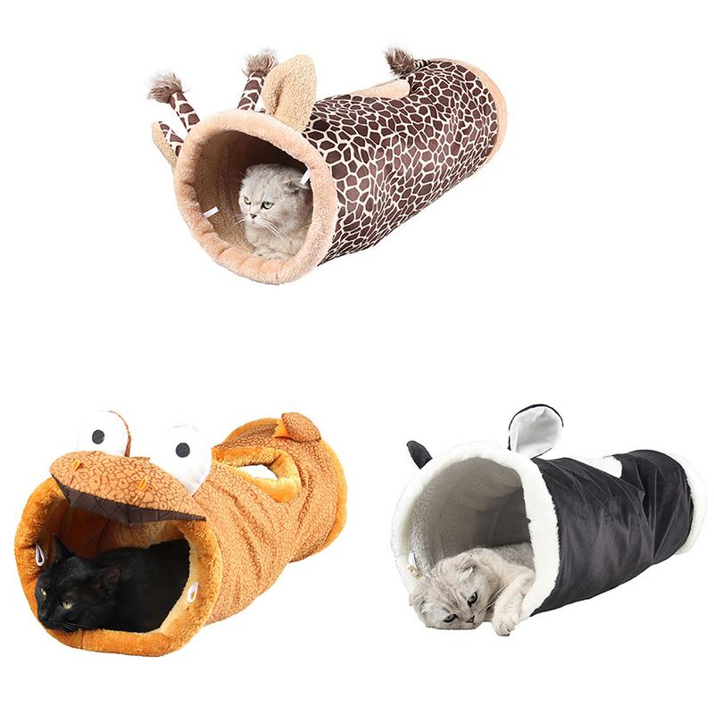 Folding Channel Dinosaur Giraffe Black Cat Tunnel Indoor Outdoor Pet Cat Training Toy For Cat Rabbit Animal Play Tunnel Tube-in Cat Toys from Home & Garden