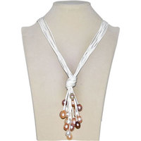 White Trendy New Design Multi Strand Natural White Rice Pearl Lariat Leather Necklace