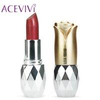 7 Color Makeup Moisture Shimmer Lipstick Batons Full Size Lip Stick Batom Makeup Cosmetic Waterproof Long