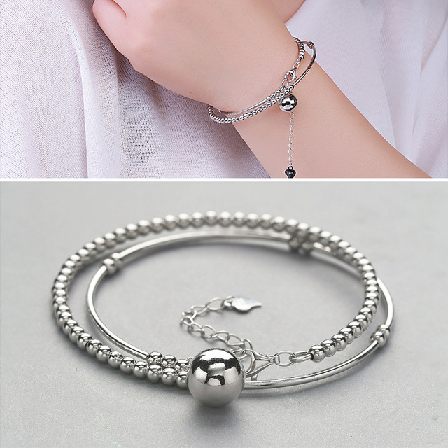Factory Direct Sales S925 Silver Bracelet Women Fresh Fresh Beads Hanging Bells More Than Four Generations Of Clover