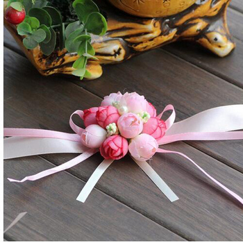 Cheap 100Pcs/Lot Bride Wrist Flower Wedding Boutonniere Pink Rose Groom Groomsman Artificial Corsage Suit Decorative Accessories