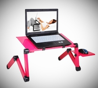 Adjustable Portable Laptop Table Stand Lap Sofa Bed Tray Computer Notebook Desk Bed Table Folding Aluminum