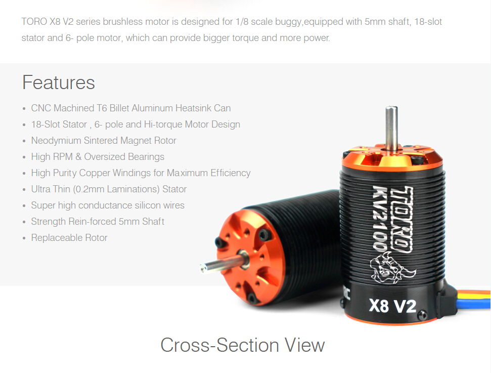 Toro X8 V2 Brushless 6 Pole Sensorless Motor 1/8 RC Car Buggy 2100KV 7T-in Parts & Accessories from Toys & Hobbies    2